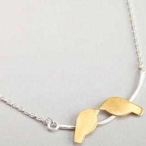 Anthropologie Bird Necklace Silver Gold